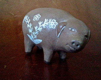 Charming Vintage Peruvian Clay Pig Whistle