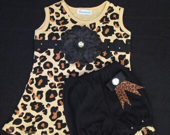 Leopard Print Baby Dress Set with Diaper Cover - Cheetah Print