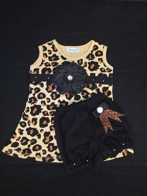 Leopard Print Baby Dress Set with Diaper Cover Cheetah Print