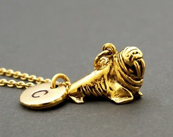 Walrus necklace, walrus charm, Antique Gold, initial necklace, initial hand stamped, personalized, monogram