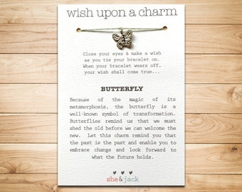 BUTTERFLY - Wish Bracelet - Silver Charm - Hemp Cord - Choose Your Own Color