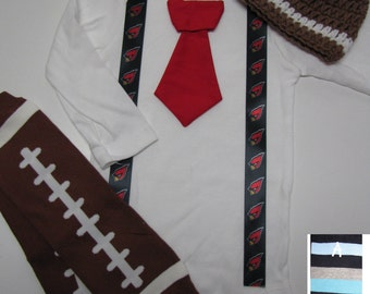 ARIZONA CARDINALS inspired football outfit for baby boy - tie bodysuit with suspenders, crochet hat, leg warmers