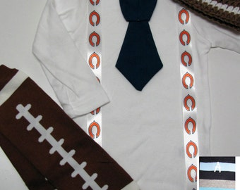 CHICAGO BEARS inspired football outfit for baby boy - tie bodysuit with suspenders, crochet hat, leg warmers