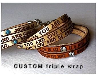 CUSTOM TRIPLE WRAP Daily Reminder Leather wrap bracelet