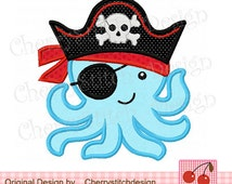Octopus Pirate 02 Digital Applique -4x4 5x7 6x10-Machine Embroidery Applique Design