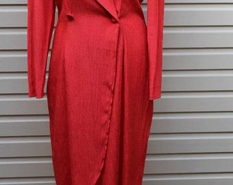 1970's/80's Sush London Pillar Box Red Dress