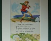 1950s Vintage Print Of Tom The Piper's Son - Nursery Rhyme Print - Children's Illustration - Colourful - Colorful - Kitsch - Retro - Flute