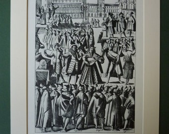 Vintage Print Of A Venitian Medieval Festival - Black & White - Italy - Venice - Matted - Italian Musicians - Musical Instruments - Theatre