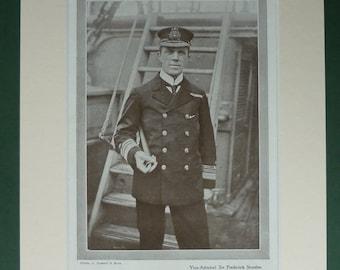 Original Vintage Print Of Frederick Sturdee - Military - First World War - British Navy - Admiral - Nautical Print - WWI - World War One