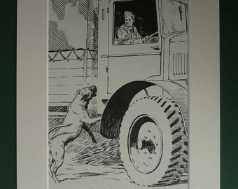 1953 Vintage Print Of A Soldier & His Dog - Military Animal Print - Army Truck - Man's Best Friend - Vintage 1950s Art Print - Military Gift