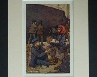 Antique Sailing Ship Print - Cup Of Tea - Nautical Art - Ship Picture - Antique Illustration - Sea Travel Print - Ship Art Print - Docks Art
