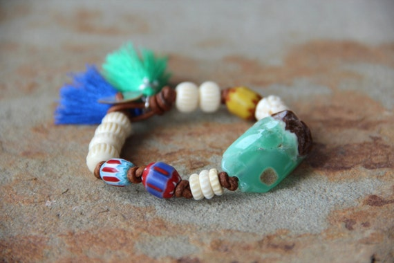 Bohemian Chrysoprase Nugget on Leather w Vintage African Chevron Beads, Tribal Vibe Colorful Bracelet, Carved Bone Beads, Tassels, Stacking