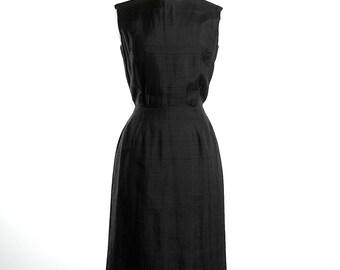 Vintage 60s Classic Black Silk Wiggle Dress Timeless Sleeveless Fitted LBD Small Medium