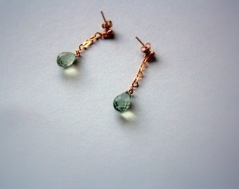 Drop Earrings, Studs, Green Amethyst and Rose Gold Plated Sterling Silver Post Earrings, Prasiolite, Heart Chain, Gemstone Jewelry