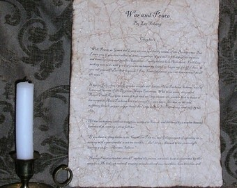 War and Peace - Antiqued reproduction of first page