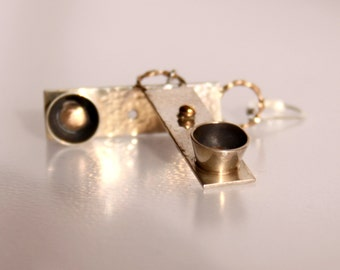 Mixed Metal Sterling Silver and Brass Earrings