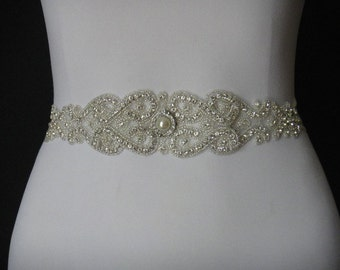 Swarovski Crystal Bridal Sash Belt, Bridal Belt, Rhinestone Bridal Belt Sash, Bridal Sash, Beaded Bridal Sash Belt