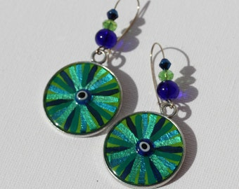 Eye of Hilarion Earrings 7-112 lucky charm talisman evil eye art artistic good vibes energy jewelry