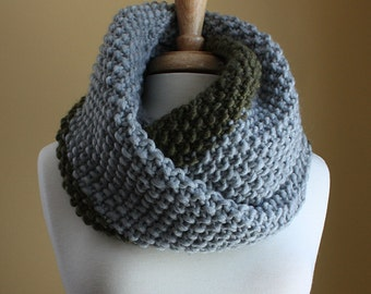 Chunky Colorblock Infinity Scarf - Stone Grey and Moss Green