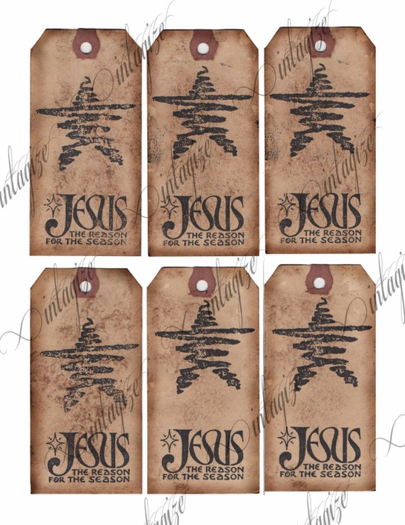 Items similar to Christmas Printable Gift Tags Rustic Primitive -Jesus ...
