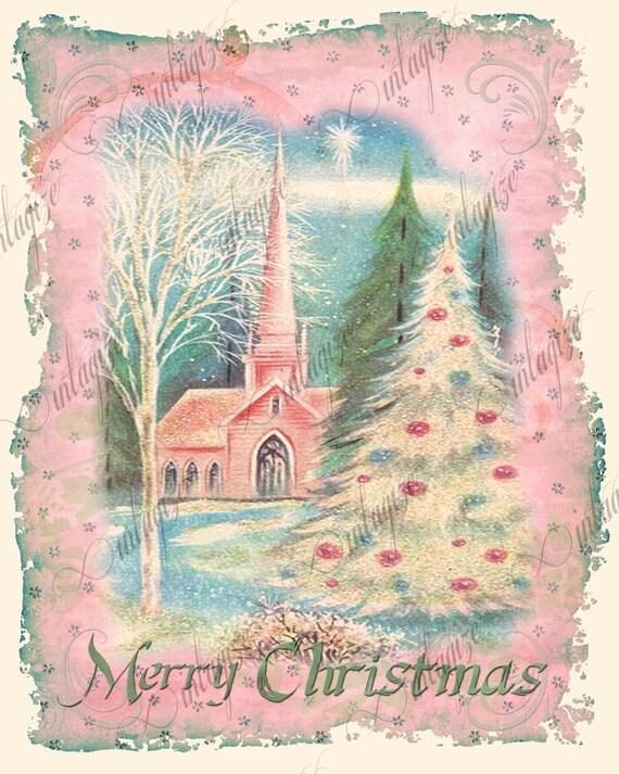 printable shabby chic christmas vintage church pink art print. Black Bedroom Furniture Sets. Home Design Ideas