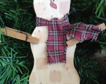 Wood Snowman Ornament with Clothespin Arms
