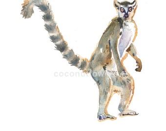 Animal Art - Size 8x10in - Watercolor Painting - Nursery Art Print-  Lemur