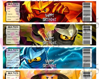 INSTANT DOWNLOAD - Ninjago Water Labels - Happy Birthday