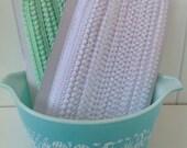2 Yards of Itty Bitty Pom Pom Trim, Mini Pom Pom Trim, Trimming, Aqua, White, Sewing Supplies, Craft Supplies, Embellishment