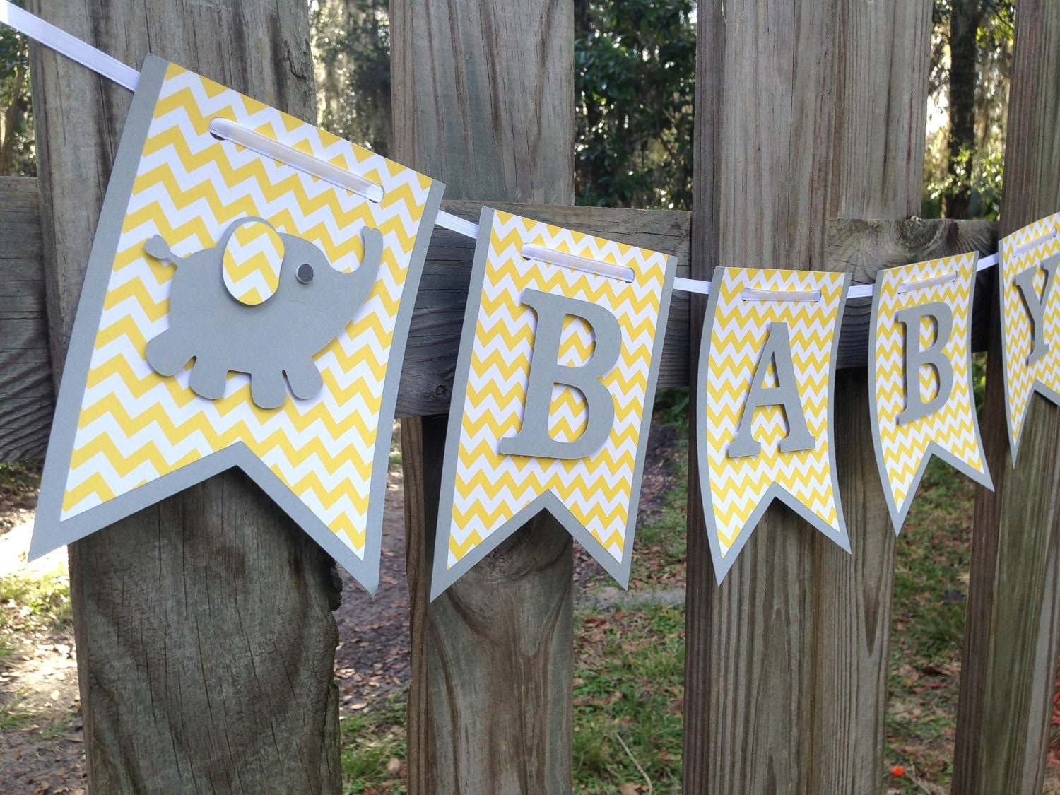 yellow and grey baby shower elephant baby by sharingapassioninc