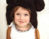Brown bear winter hat, kids winter accessory, soviet vintage hat