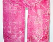 Painted scarf - PINK JAPAN - hand painted silk scarves - pink scarf with white kanji - cherry blossom - MinkuLUL