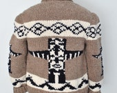 Cowichan Sweater, Totem Cardigan, New Hand Knit Wool Cardigan Canadian Sweater
