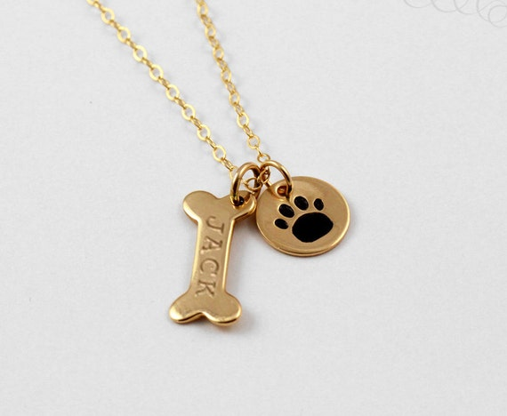 Name Necklace, Dog Paw Necklace, Pet Jewelry, Gold ...