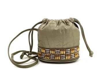 SALE silver leather cross body bag / studded bucket bag / vintage 80s metallic purse