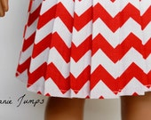 Pleated Chevron Skirt in Red - American Girl Doll Clothes