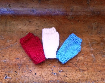 Baby gloves - baby fingerless gloves - red, white and blue wrist warmers - handmade baby boy - baby girl