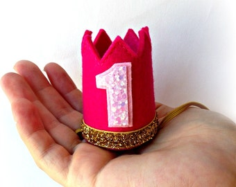 Ready to Ship Birthday Crown Pink Felt Crown Headband MINI Gold Glitter