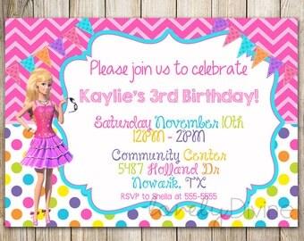 Barbie Chevron Birthday, 1st Birthday Invitation, 2nd Birthday Invitation, 3rd Birthday Invitation, Personalized Invitation, PRINTABLE