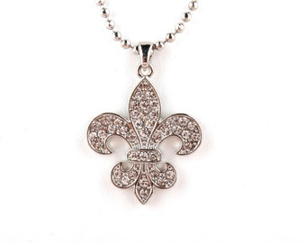 Flat Sparkly Fleur de lis Necklace- Silver, Gold or Brass