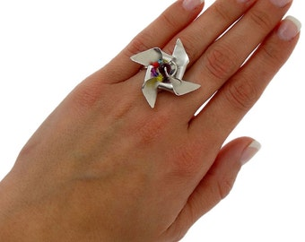 Pinwheel ring, origami ring, sterling silver ring for women, windmill ring, unusual ring, origami jewelry, cool ring,unusual adjustable ring