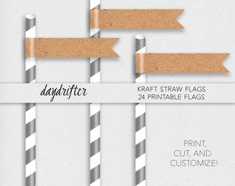 "Customizable Blank Kraft Straw Flags Cupcake Toppers Template -- DIY Instant Download 8.5"" x 11"" Paper"