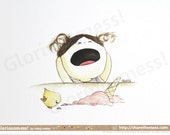 "Quirky Ice Cream Misadventure A5 Art Print - ""Oh Noes"" Wails Little Girl CurlieQ - Cute Children's Illustration"