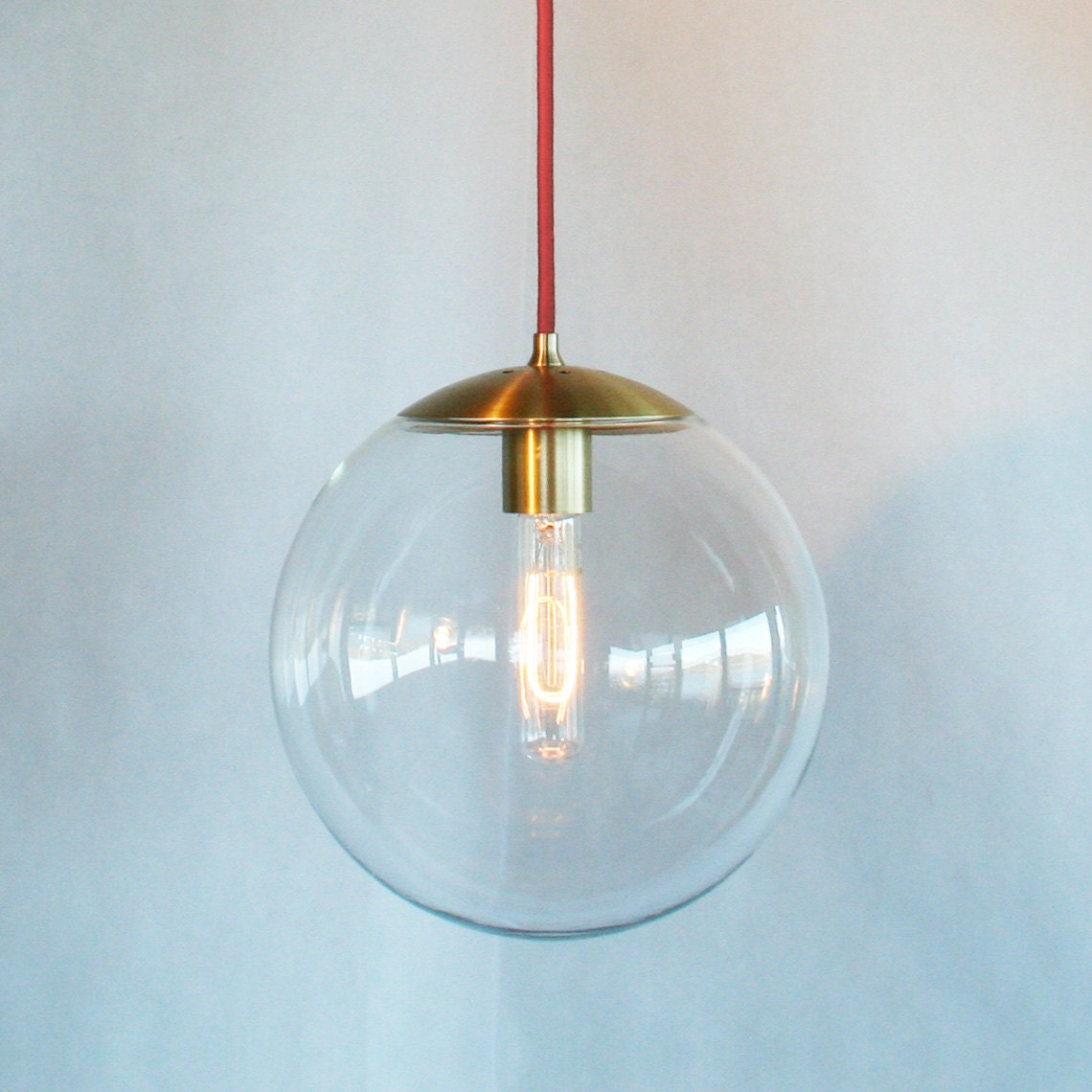 Modern mid century globe pendant light clear 10 globe for Modern island pendant lighting