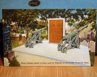 Vintage Postcard, Brass Cannon, Plymouth, Massachusetts 1940s Linen Paper Ephemera