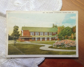 Vintage Postcard, The Casino, Lutherland, Pocono Pines, Pennsylvania 1930s Paper Ephemera