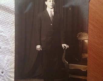 Vintage Real Photograph Postcard, Young Gentleman, Early 1900s Paper Ephemera