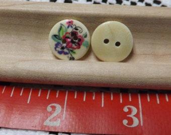 20 flower Buttons 15mm wood buttons wood flower button