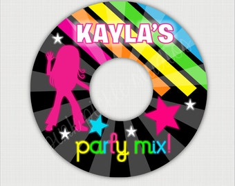 Hip Hop Dance Party CD or DVD Label Personalized Birthday Party Printables 547