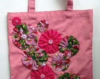 Yo-Yo Flower Embellished Pink Canvas Tote Bag - Violet Bows